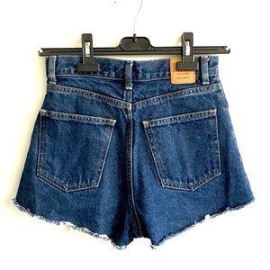MOUSSY High Waisted Cut Off Denim Shorts Blue XS